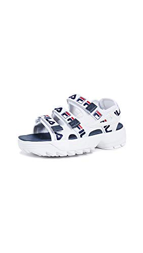 Fila Women's Disruptor Sandals, White Navy Red, 7 M US from Fila