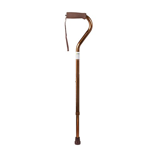 DMI Deluxe Lightweight Adjustable Walking Cane with Soft Foam Offset Hand Grip, Slip Resistance, for Men and Women, Bronze
