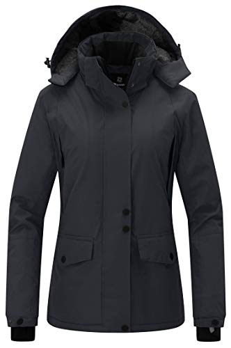 Wantdo Women's Mountain Ski Jacket Waterproof Rain Coat with Hood Wind Resistant Winter Short Parka Anorak Casual Wear(Black, Large)