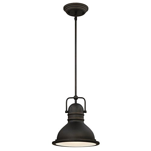 Westinghouse 63087B Boswell One-Light LED Indoor Pendant, Oil Rubbed Bronze Finish with Highlights and Frosted Prismatic Lens