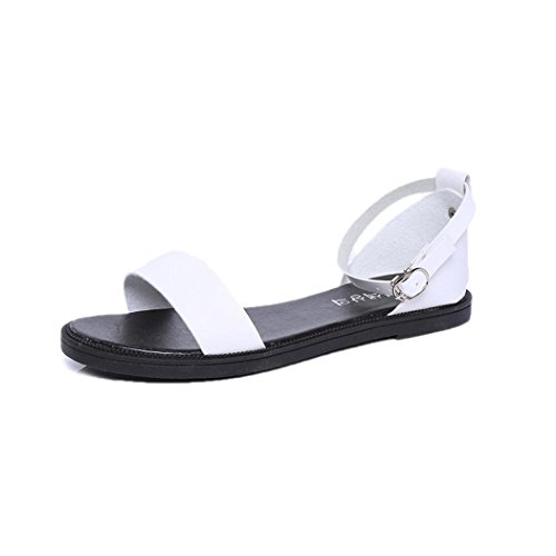 Flat Sandals Sandals White Shoes Buckle Summer Sandals Summer Comfortable Women Strap Inkach Ladies 6dRwq0