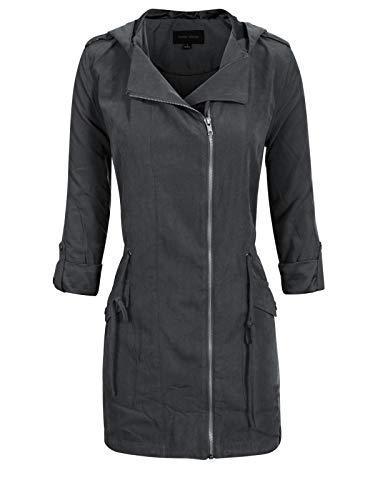 - Instar Mode Women's Spring Lightweight Faux Suede Zip Up Solid Safari Jacket Coat Black S