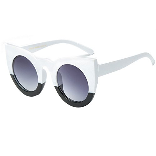 Women's Oversized Round Cat-eye Sunglasses Bold Rim Vintage Retro Eyewear White and - Sunglasses Express Eye Cat