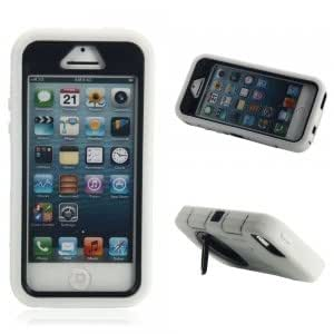 3-in-1 Silicone Plastic Protective Case w/ Ring Style Stand for iPhone 5/5S/5C White