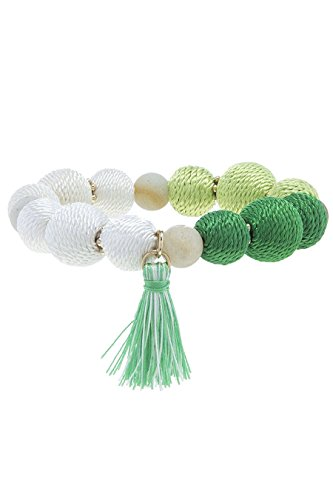 Diy Fashion Designer Costume (TRENDY FASHION JEWELRY SEMI PRECIOUS STONE THREAD WRAPPED BALL BRACELET BY FASHION DESTINATION | (Green))