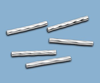 WireJewelry Sterling Silver Straight Tube Twisted 1x13mm - Pack Of 10
