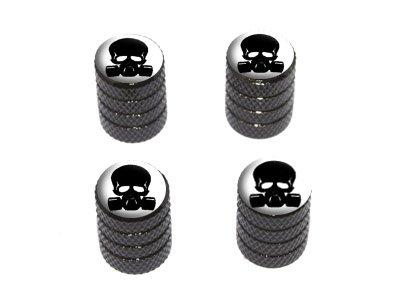 - Zombie Outbreak Response Team - Skull Gas Mask - Tire Rim Wheel Valve Stem Caps - Black