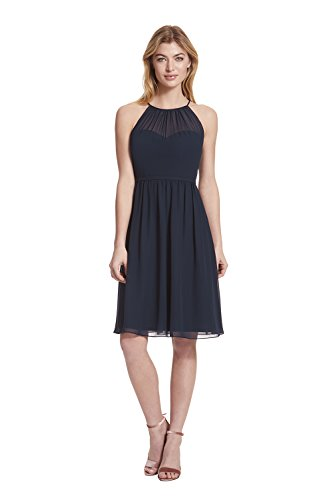 Blue Halter (Samantha Paige Spaghetti Halter Chiffon Cocktail Dress With Illusion Detail,Navy,14)