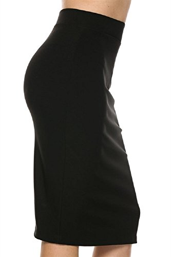ljif-black-womens-women-elastic-waist-band-stretchy-fabric-pencil-skirt-medium