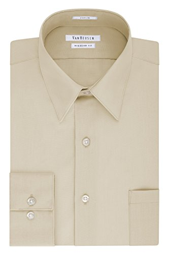 Van Heusen Men's Poplin Regular Fit Solid Point Collar Dress Shirt, Stone, 15.5