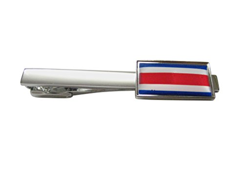 Thin Bordered Costa Rica Flag Square Tie Clip