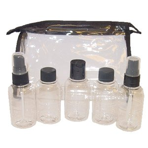 Clear Travel Bag With 5-2oz Clear Bottles