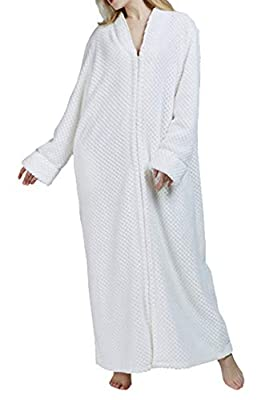 Seaoeey Women's Long Robe Classic Soft Zipper Bathrobe Flannel Sexy Nightgown Home Service