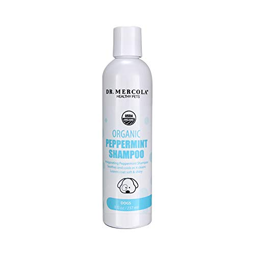 Dog Conditioner Peppermint (Dr. Mercola Organic Peppermint Dog Shampoo - 1 Bottle (8 oz) - Organic Dog Shampoo Promotes Healthy Hair & Skin - w/Peppermint, Aloe Vera, Jojoba, Neem, and More - Helps Reduce Dog Odors)