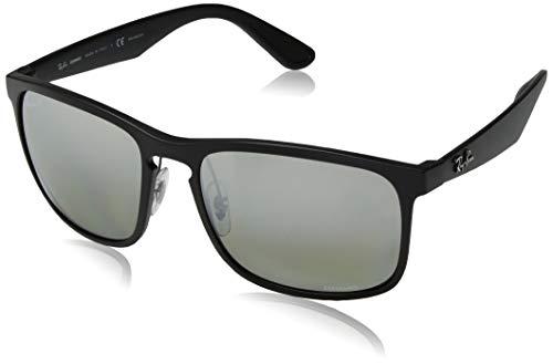(Ray-Ban Men's RB4264 Chromance Mirrored Square Sunglasses, Matte Black/Polarized Silver Mirror Grey Gradient, 58 mm)