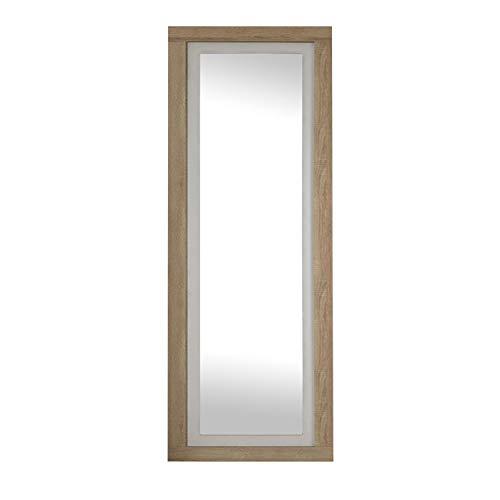 duehome HomeSouth - Espejo de Pared, Mural con Luna Modelo Lara, Acabado en Color Cambria y Blanco, Medidas 180 cm (Alto) x 60 cm (Ancho) x 3,5 cm (Fondo)