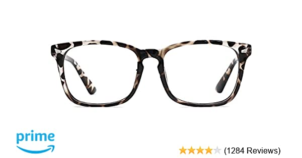 28cbb2d5fca Amazon.com  TIJN Blue Light Blocking Glasses Square Nerd Eyeglasses Frame  Anti Blue Ray Computer Game Glasses  Clothing