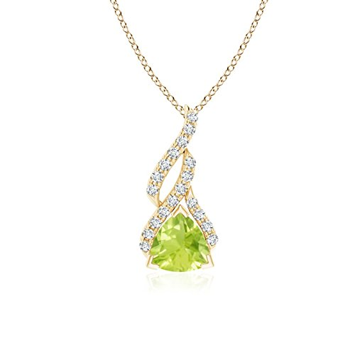 (Trillion Peridot Solitaire Pendant with Diamond Swirl in 14K Yellow Gold (6mm Peridot))