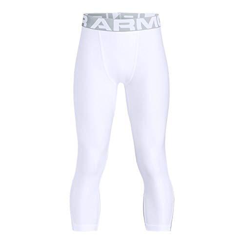 - Under Armour Heatgear Armour 3/4 Leggings, White//Mod Gray, Youth Medium