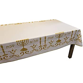 Amazon Com Magic Cloth Tablecloth White And Gold Shabbat