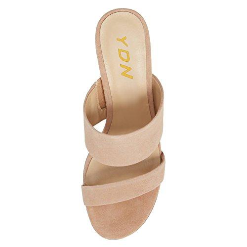 YDN Women Block Low Heel Mules Slip on Pumps Open Toe Slide Sandals Slipper Shoes Nude FMeHZtmNm