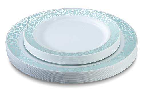 32 Piece Plastic Plates Set Elegant Plastic Dinnerware Set for 16 Guests Includes 16 Fancy Disposable Dinner Plates 16 Dessert Plates Thanksgiving (Silver and Light Blue) Posh Setting