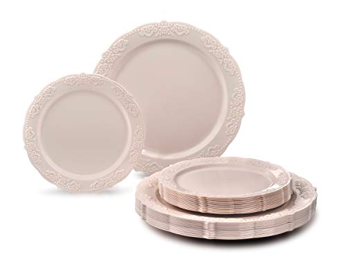 '' OCCASIONS'' 240 PACK Heavyweight Vintage Wedding Party Disposable Plastic Plates Set - 120 x 10.25'' Dinner + 120 x 7.5'' Salad/Dessert Plate (Portofino Light Pink/Blush) by OCCASIONS FINEST PLASTIC TABLEWARE (Image #1)