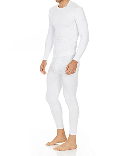 Thermajohn Men's Ultra Soft Thermal Underwear Long Johns Set with Fleece Lined (X-Large, White)