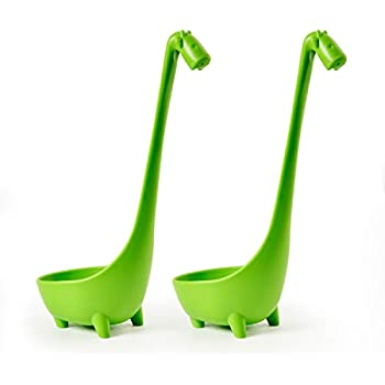Animoeco 2 Pack Giraffe Soup Ladle Spoon & Large Colander Standing Steadily in Food Grade PP Plastic with Long Slightly Curve Design Handle
