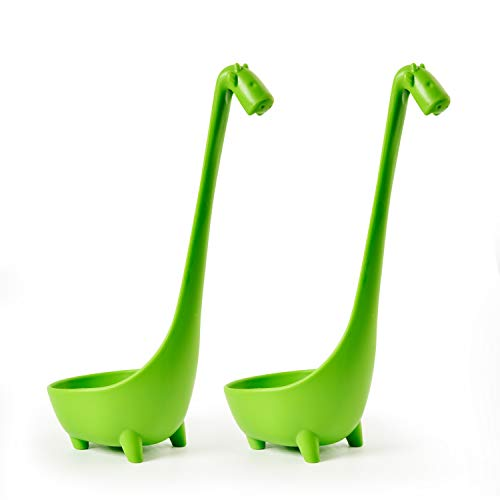 Giraffe Spoon - Animoeco 2 Pack Giraffe Soup Ladle Spoon & Large Colander Standing Steadily in Food Grade PP Plastic with Long Slightly Curve Design Handle
