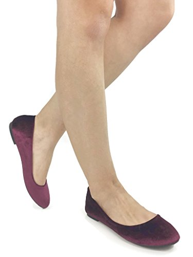 ANNA Stacy-14 Burgandy 7 B(M) US (Burgandy Velvet Dress)