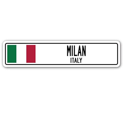 Cortan360 MILAN, ITALY Street Sign Decal Italian flag city country road wall gift 8