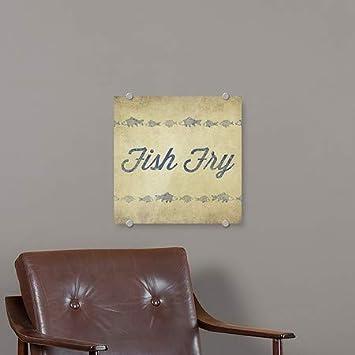 Fish Script Fish Fry CGSignLab 16x16 Square Premium Acrylic Sign 5-Pack