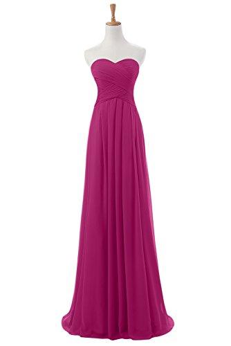 Diseño en forma de corazón de la Toscana de novia vestidos de gasa por la noche vestido de largo bola para mujer vestidos de fiesta fucsia