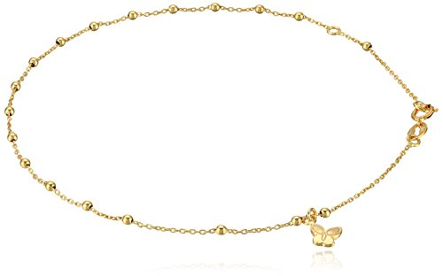 14k Yellow Gold Italian Station Beaded Butterfly Charm Anklet, 9""