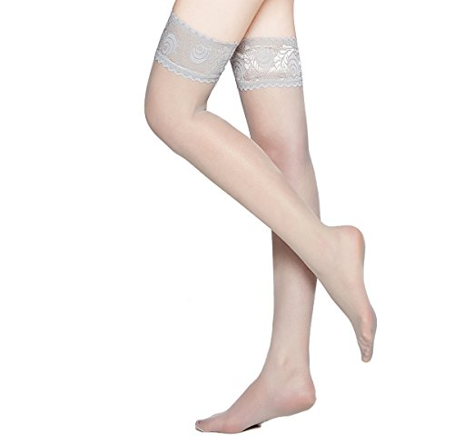 MOOCHI Women's 20 Denier Sheer Soft Gray Thigh High Stockings with Silicone Lace Top for formal casual dresses (Grey Stockings)
