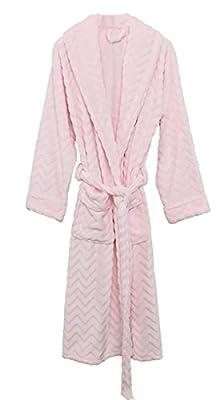 Betusline Women's Casual Solid Plush Soft Nightgown Pajamas Bathrobe Kimono Robe