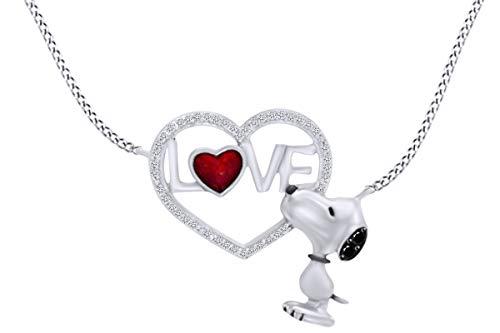AFFY Snoopy Love Heart Sterling Silver Enamel Pendant Necklace ()