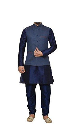 (Mag Men's Nevy Blue Matching silk Kurta Churidhar With Nevy Blue Joot Waistcoat (RG-10484B-46))