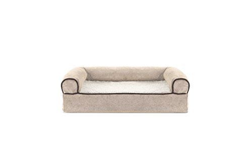 Furhaven Pet Faux Fleece & Chenille Soft Woven Memory Top Sofa Pet Bed, Small, - Bolstered Sofa Orthopedic Bed