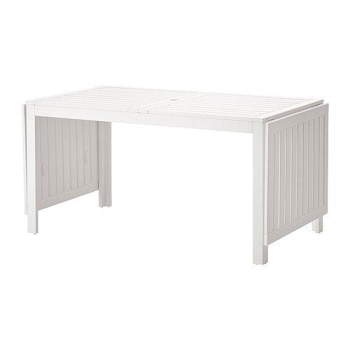 Ikea Applaro Drop-leaf Folding Wood Table White Seats 4 - 8 (Table Ikea White Folding)