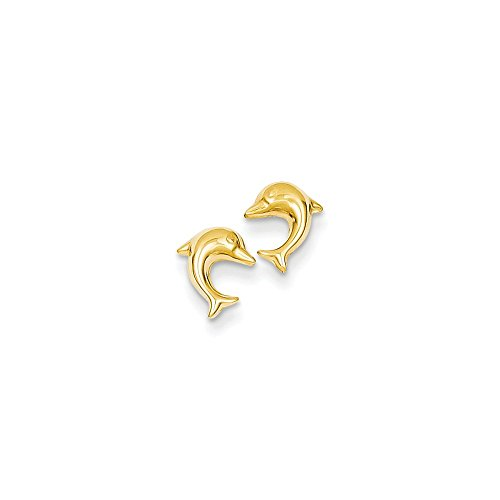 Gold Dolphin Post Earrings - 5