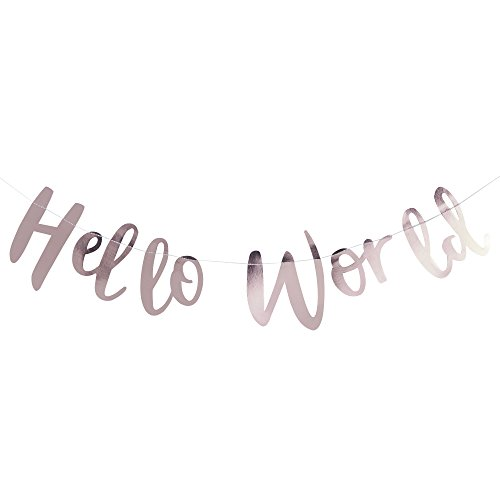 Ginger Ray Rose Gold Hello World Scripted Baby Shower Bunting Banner - Hello - Baby Ray Ray