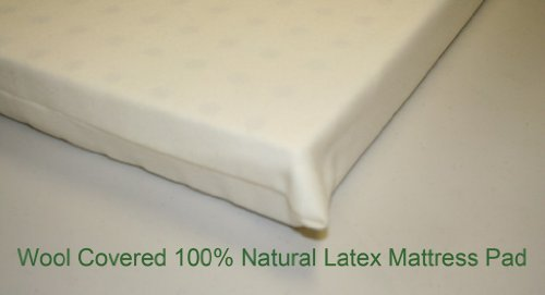 All Natural Latex, Wool coverd pads for Mini, Porta Crib, Co Sleeper and Playards - 2 inch thick Firm 18x36