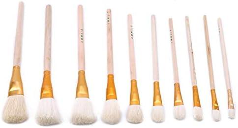 LUXWELL(ラクスウェル) ペイントブラシ アクリル筆 油絵筆 水彩筆 画筆 絵具用 油絵用 アート用品 文房具 水性 油性対応 10個セット