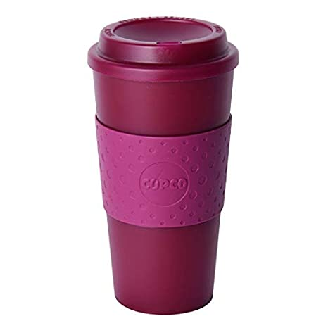 Copco Acadia Double Wall Insulated Travel Mug with Non-Slip Sleeve, 16-Ounce (Translucent Marsala Red) 2510-0415
