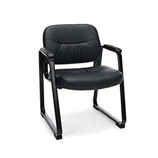 OFM ESS Collection Bonded Leather Executive Side Chair with Sled Base, in Black (ESS-9015)