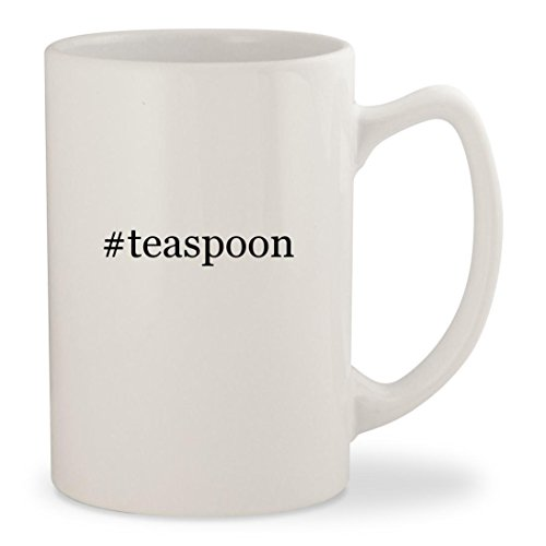#teaspoon - White Hashtag 14oz Ceramic Statesman Coffee Mug Cup - Gold Small Iced Teaspoon
