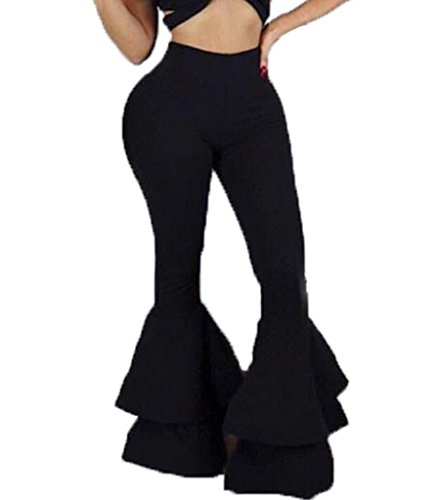 GUOLEZEEV Women Solid Tight Leggings Ruffle Flare Bottom Bodycon Pants Trousers Black M (Bottom Black Ruffle)