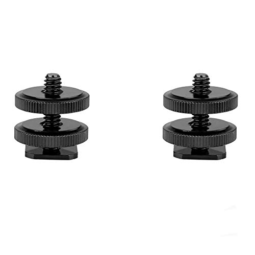 pangshi Camera Hot Shoe Mount to 1/4-20 Tripod Screw Adapter,Flash Shoe Mount Compatible with DSLR Camera Rig (Pack of 2)